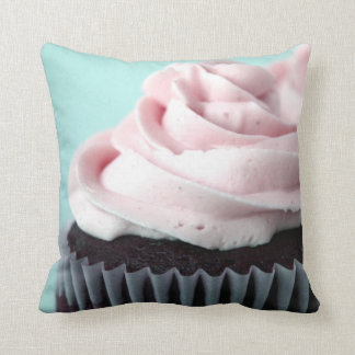 Chocolate Cupcakes Pink Frosting Throw Pillow