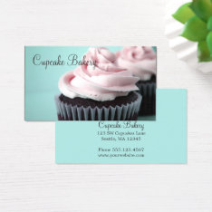 Chocolate Cupcakes Pink Vanilla Frosting Business Card at Zazzle