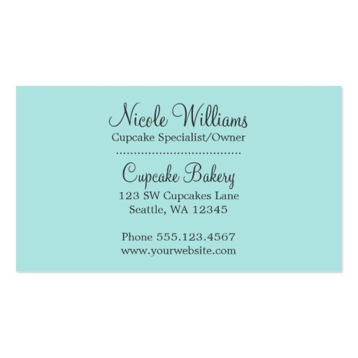 Chocolate Cupcakes Pink Vanilla Frosting Business Cards (back side)
