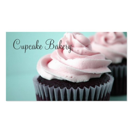 Chocolate Cupcakes Pink Vanilla Frosting Business Cards (front side)