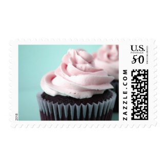 Chocolate Cupcakes Pink Vanilla Frosting Postage