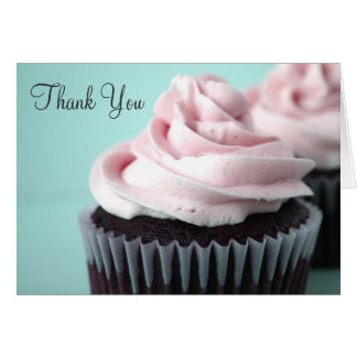 Chocolate Cupcakes Pink Vanilla Frosting Thank You Card
