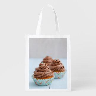 Chocolate cupcakes reusable grocery bag