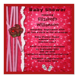 Chocolate Cupcakes & Shoes Girl Baby Shower Card