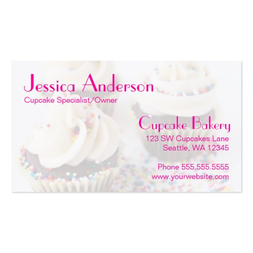 Chocolate Cupcakes Sprinkles Vanilla Frosting Business Card (back side)