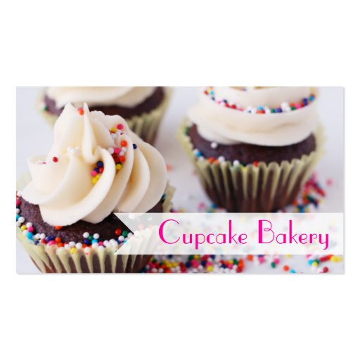 Chocolate Cupcakes Sprinkles Vanilla Frosting Business Card (front side)