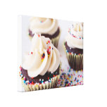 Chocolate Cupcakes Sprinkles Vanilla Frosting Stretched Canvas Print