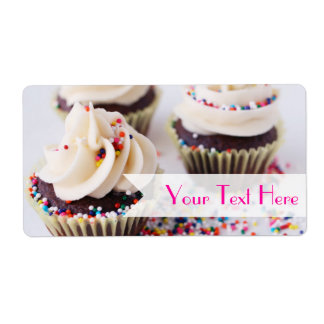 Chocolate Cupcakes Sprinkles Vanilla Frosting Shipping Label