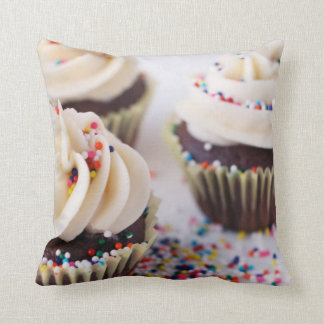 Chocolate Cupcakes Vanilla Frosting Sprinkles Pillow