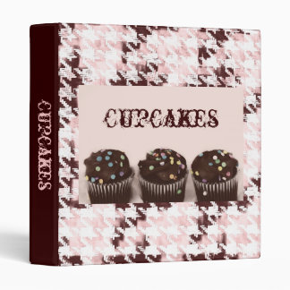 Chocolate cupcakes with sprinkles on houndstooth 3 ring binder