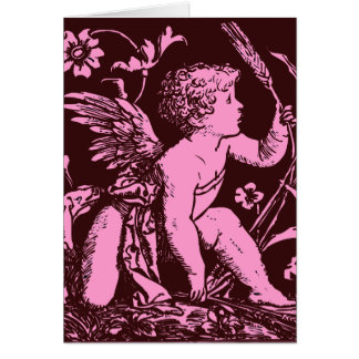 Chocolate cupid with wheat stalk vintage print card