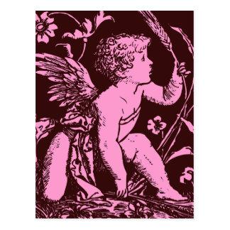 Chocolate cupid with wheat stalk vintage print postcard