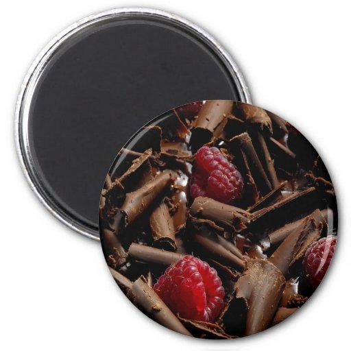 Chocolate Curls and Raspberries Fridge Magnets