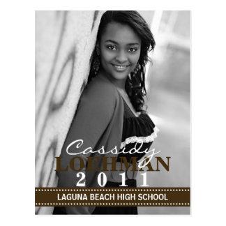 Chocolate Custom Photo Graduation Announcement Postcard