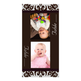 Chocolate Damask  Bride & Groom Photo Table Cards