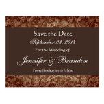 Chocolate Damask Save The Date Postcard