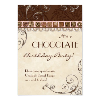Chocolate Damask Swirl Birthday Party Invitation