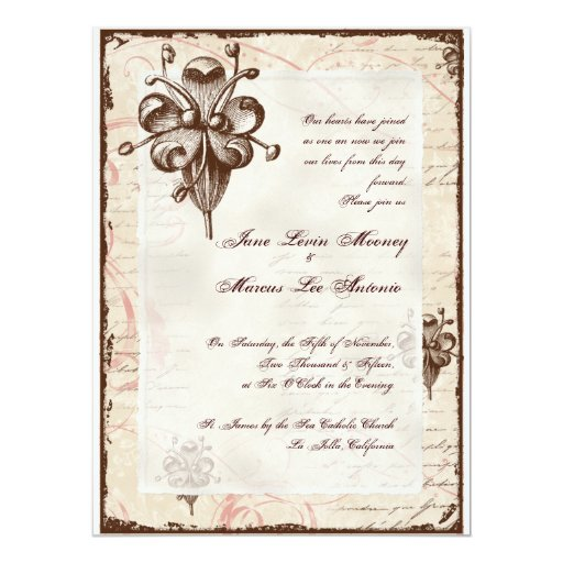 "Chocolate Damask Swirl Wedding Card Invite 6.5"" X 8.75"" Invitation Card"