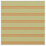 [ Thumbnail: Chocolate & Dark Khaki Colored Stripes Fabric ]