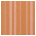 [ Thumbnail: Chocolate & Dark Salmon Stripes Fabric ]