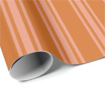 [ Thumbnail: Chocolate & Dark Salmon Stripes Wrapping Paper ]
