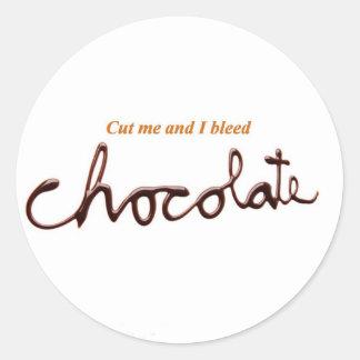 Chocolate de corrimiento pegatina redonda