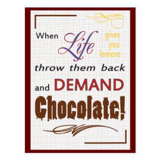 Chocolate de la demanda tarjetas postales
