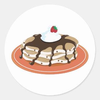 Chocolate de las crepes pegatina redonda