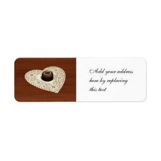Chocolate de las tarjetas del día de San Valentín Etiquetas De Remite