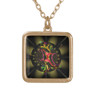 Chocolate Decadence Colorful Fractal Geometric Art Necklace