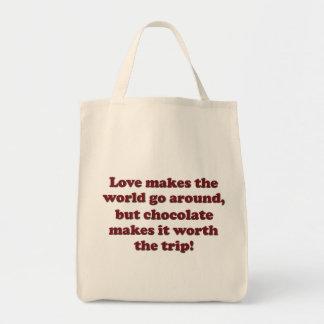 Chocolate del amor bolsa tela para la compra