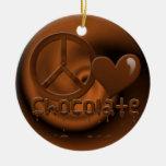 Chocolate del amor de la paz adornos