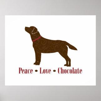 Chocolate del amor de la paz poster