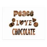 Chocolate del amor de la paz postal