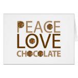 Chocolate del amor de la paz tarjetas