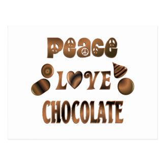 Chocolate del amor de la paz tarjetas postales
