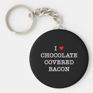 Chocolate del amor del tocino I Llavero Redondo Tipo Pin