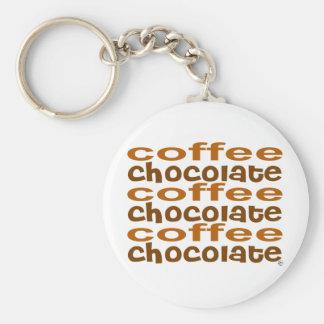 Chocolate del café de las decisiones llavero redondo tipo pin