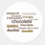 Chocolate del chocolate del chocolate etiquetas redondas