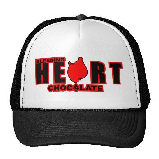Chocolate del corazón sangrante gorras de camionero