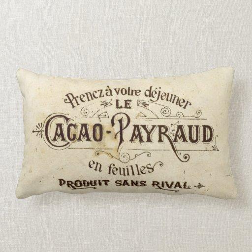 Chocolate del francés del vintage cojín