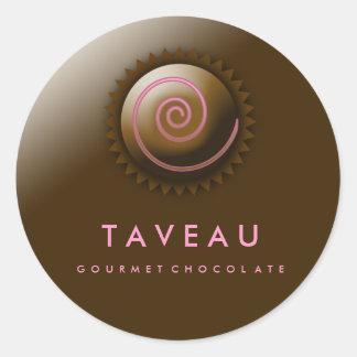 chocolate del gastrónomo 311-Upscale Pegatina Redonda