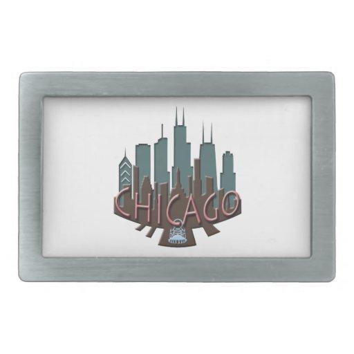 Chocolate del newwave del horizonte de Chicago Hebillas Cinturón Rectangulares