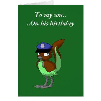 Chocolate del oficial de policía/pájaro reptil 1 tarjeta de felicitación