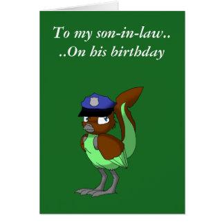 Chocolate del oficial de policía/pájaro reptil 3 tarjeta de felicitación