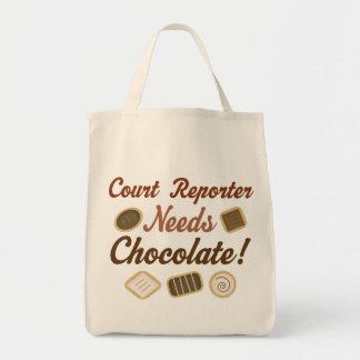 Chocolate del reportero de corte bolsa tela para la compra