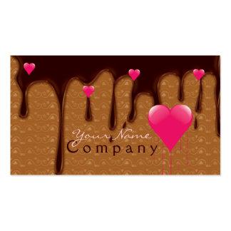 chocolate derretido con la tarjeta de visita rosad