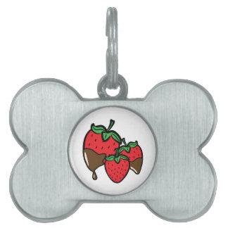 Chocolate Dip Strawberries Pet Tags