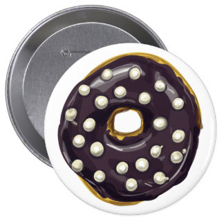 Chocolate Dipped  Doughnut. Pinback Button