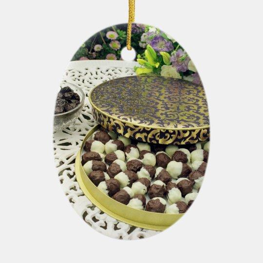Chocolate dipped prunes ceramic ornament